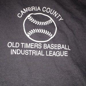 Dark charcoal gray zip up  old timers baseball